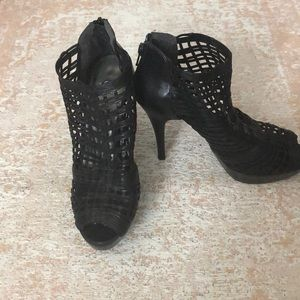 Stuart Weitzman caged leather booties